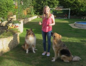 Hayley Cornick with Mindy the German Shepherd Dog and Bestie the Rough Collie